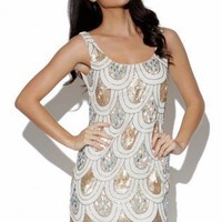 Sequin Embellished Tear Drop Dress with Scalloped Hem
