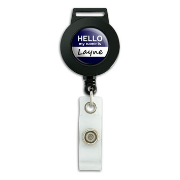 Layne Hello My Name Is Retractable Badge Card ID Holder