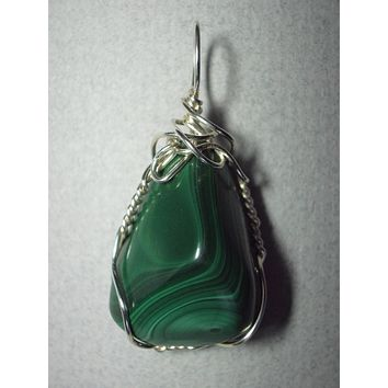Malachite Pendant Wire Wrapped .925 Sterling Silver