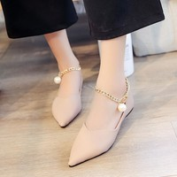 Pointed Toe Low Cut Metal Chain Boat Flats Shoes