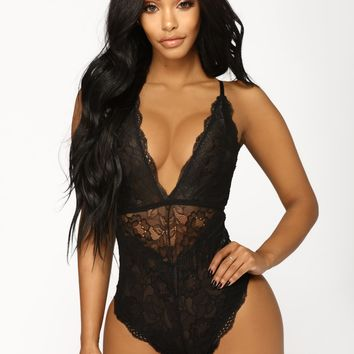 Cherish You Lace Teddy - Black