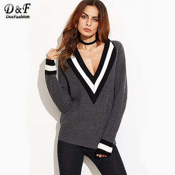 Dotfashion Grey Striped Trim Deep V Neck Loose Sweater 2017 Autumn Women Plunge Pullovers Long Sleeve Casual Sweater