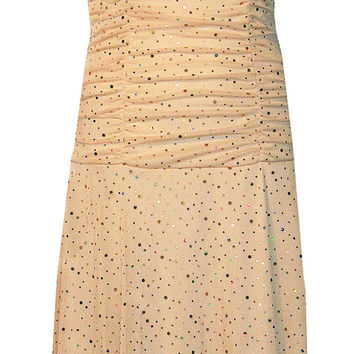 70's Disco Halter Dress with Hologram Dots and Gathered Waist - Size Small