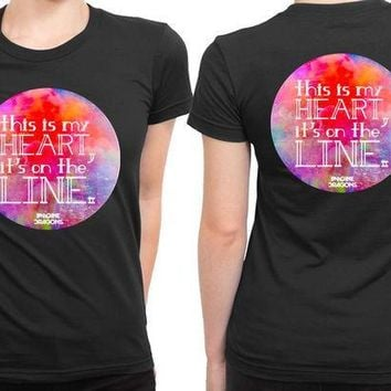 CREYH9S Imagine Dragons This Is My Heart Its On The Line 2 Sided Womens T Shirt