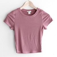 Ribbed Knit Crop Top -Dusty Mauve