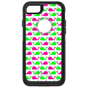DistinctInk™ OtterBox Commuter Series Case for Apple iPhone or Samsung Galaxy - Green Pink Cartoon Whales