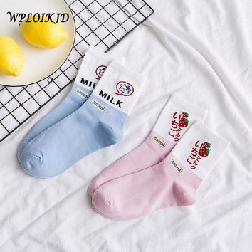 [WPLOIKJD]Strawberry Milk Cute Harajuku Funny Socks Japanese Kawaii Socks Women Calcetines Mujer Meias Feminino Chaussette Femme