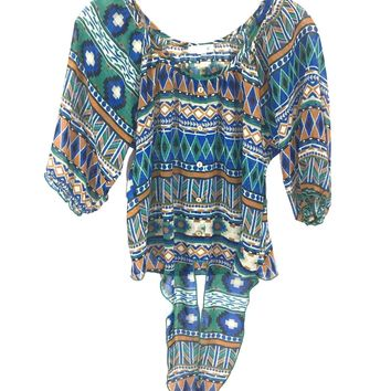 Mine Crop Blouse Shirt Aztec Boho Southwest Knot Tie Front Sheer Womens Small S - Preowned