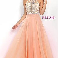 Blush High Neck Long Prom Dress