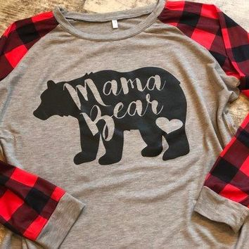MAMA BEAR Plaid Print T Shirt Autumn Long Sleeve Crewneck Female Women Top Tumblr Fashion Cute Tshirt Plus Size Tee Drop Ship