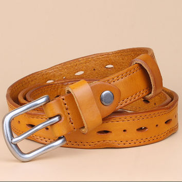 Women Vintage Simple Real Cowskin Belts Casual All-match Alloy Pin Buckle Belt Jeans Girdle