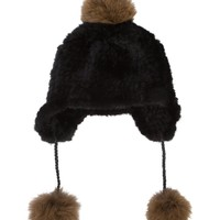 Yves Salomon PomPom Beanie - Brown Black Lamb Fur Beanie