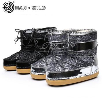 New 2017 Women Space Boots Natural Wool Snow Boots Women Bling Ankle Boots Casual Ladies Warm Winter Shoes Skiing Boots