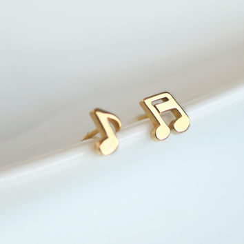 Cute and tiny Musical Note surgical steel post Earrings. Music stud earring. Choose your color. Gold or Black   DoubleBJewelry, DoubleB.