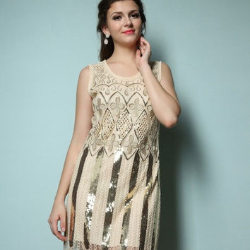 1920'S great gatsby flapper girl sleeveless vintage tank dress embroidery o-neck sequin party mini dress 89003