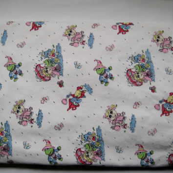 RARE Vintage Muppet Babies Sesame Street CRIB Bedding Size Duvet Cover Baby Miss Piggy Kermit Gonzo Wizard of Oz Theme 1987 Clean Used