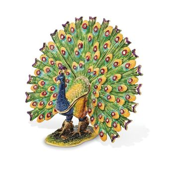 Bejeweled Proud Peacock Trinket Box with Charm Pendant
