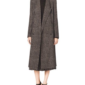 Smudged Plaid Overcoat, Size: