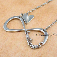 INFINITY One Direction necklace,forever Directioner & Paper airplane necklace Harry Styles Charm