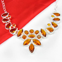 Elegant Fashion Crystal Silver Brazilian Citrine Necklace N0579