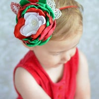 Christmas Headband - Red - Green - White Headband -My First  Christmas Headband - Holiday Headband  by ChildrenscandyKC