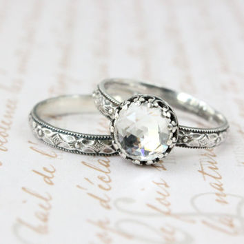 Wedding ring set, sterling silver, 8 mm rose cut Swarovski crystal vintage style, floral band, Renaissance rings, rustic wedding, engagement
