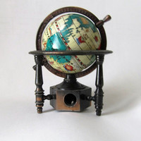 REDUCED PRICE Vintage World Globe Metal Desk Accessory Pencil Sharpener Made in Hong Kong Mid Century