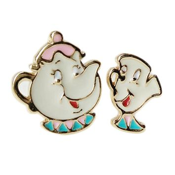 Lovely Cartoon Beauty And The Beast Earrings Cosplay Jewelry Famous Movie Cups Stud Earring