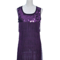 Women S/M Fit Purple Sequined n Fringed Roaring 1920s Flapper Inspired Dress Alternative Measures - Brides & Bridesmaids - Wedding, Bridal, Prom, Formal Gown