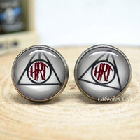 Monogram Cuff Links,Personalized Initials Cufflinks,Harry Potter Deathly hallows Jewelry,Cabochon Mens Accessories (MCL1)
