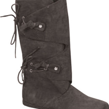 Costume Shoes: Boots Renaissance - Black | Large