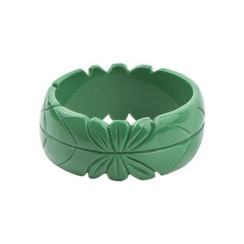CREYIJ6 GuanLong Romantic Floral Resin Carved Leaf Bangle Jewelry 2017 New Collection Femme Bangles Puseiras Jewellery