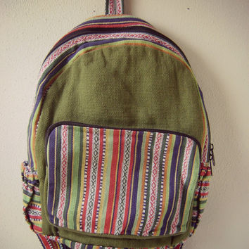 90s guatemalan print backpack vintage 1990s grunge bookbag ethnic print travel bag hippie boho festival backpacks mexican fabric tote bag