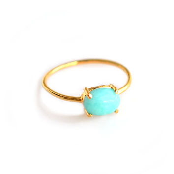Amazonite Solo Claw Ring