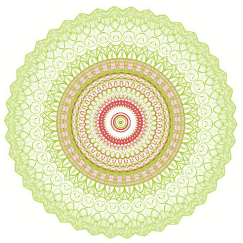 Lime green and coral kaleidoscope, geometric shapes, lime green home decor wall art, mandala art, dorm decor poster, geometrical pattern