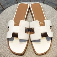 Hermes flat bottom casual H slippers wild female beach sandals and slippers White
