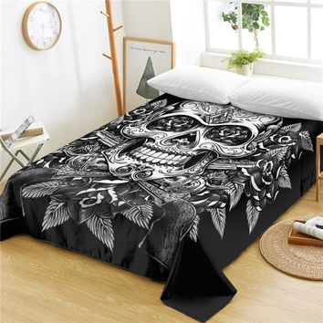 Floral Skull One Piece Vintage Flat Sheet