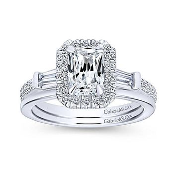 14K White Gold 1.60cttw Emerald Cut Halo Diamond Engagement Ring with Baguette Accents