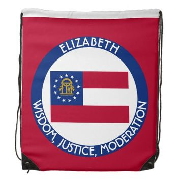 Georgia Peach State Personalized Flag Drawstring Backpacks