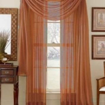 "Rust 216"" Sheer Window Scarf (Burnt Orange)"