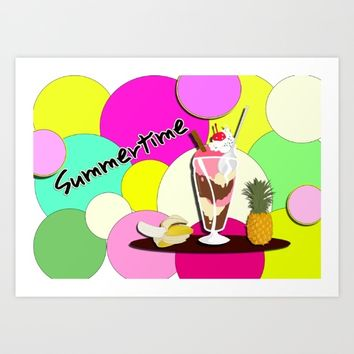 Summertime fruit drink Art Print by LoRo  Art & Pictures