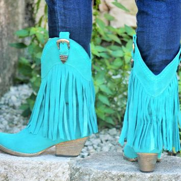 Very Volatile Turquoise Fringe Boots from tropicalglamourboutique