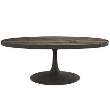 Industrial Modern Wood Top Coffee Table in Brown