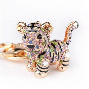 DCCKV2S Car Keychain!Full Rhinestone Exquisite Animal Little Tiger Keychain Charm Bag Key Chain Holder Women Handbag Jewelry (tiger A)