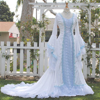 Narnia Style Victoria Velvet and Lace Fantasy Medieval Fairy Wedding Gown Custom