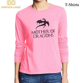 Game Of Thrones Season 7 Mother Of Dragons T Shirts For Ladies 2017 Autumn Fashion T-Shirt 100% Cotton Long Sleeve T Shirt Women