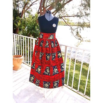 African Maxi Skirt - Red/Black Checkered Floral Print