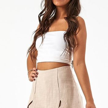 My Heart Calls Skort In Beige Linen Look Produced By SHOWPO