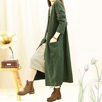 YoYiKamomo Women trench autumn big size long cardigan coat loose  vintage loose casual trench women