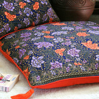 Table Runner, 30 inch Floor Cushions Or Lumbar Pillows, Bohemian Style Indonesian Batik Decor, Navy With Lavender, and Orange